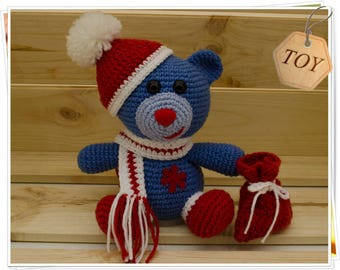 Christmas Bear - Crochet Bear - Amigurumi Bear - Teddy Bear - Stuffed Bear - Soft Bear - Blue Bear - Christmas Toy - Christmas Gift