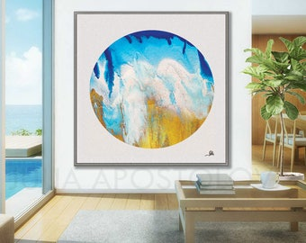 Coastal Wall Art, Ocean Print, Circle Canvas, Sea Abstract, Beach Decor, Seascape Painting, Blue White Gold Large Canvas Art Turquoise Teal
