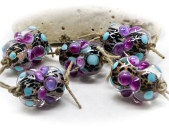 Wild Orchid - Handmade Glass Bead Pair #183