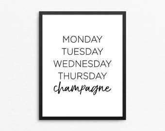 Champagne Print, Champagne Printable, Champagne Poster, Bar Print, Bar Art, Bar Printable, Bar Digital Print, Bar Poster, Kitchen Print