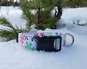 Colorful Snowflakes on White Dog Collar - Christmas/Holiday/Winter Collection