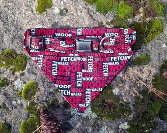 Black/Red/White Woof, Fetch, and Walk, Paws of Love Dog Bandanas