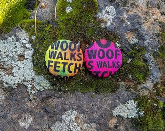 Colorful Tie Dye Woof, Fetch, and Walk Paws of Love Dog Mom Earrings
