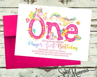 Unicorn birthday invitation, unicorn invitation, magical invitation, Rainbow Unicorn Birthday Invitation, magical unicorn, Unicorn Pink