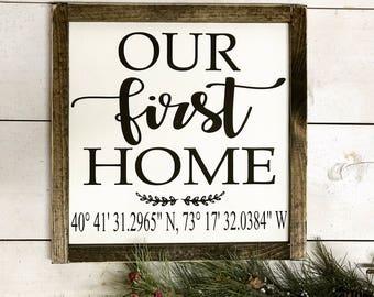 Our First Home, First Home Sign, Our First Home Sign, Established Date Sign | Farmhouse Decor | Gifts Under 30 | Housewarming Gift