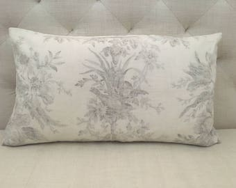 "Brunschwig et Fils Brown Floral Toile Pillow Cover, 14""x24"""