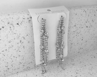 Silver diamanté drop dangle earrings
