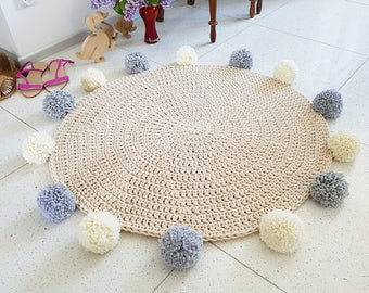 Promotion Sweet Creamy Pom pom round rug, mat bohemian crochet vintage colorful bebe carpet teppich hippie houseware tapis enfant kids rugs