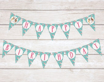Horse Banner, Happy Birthday Banner, Pennant Banner, Horse Birthday Decorations, Floral Birthday Decor, Equestrian Birthday Banner