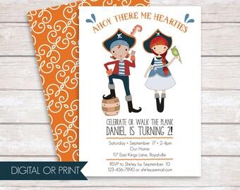 Pirate Invitation, Pirate Birthday Invitation, Boy Pirate Invitation,  Girl Pirate Invitation, Printed Invitation, Printable Invitation