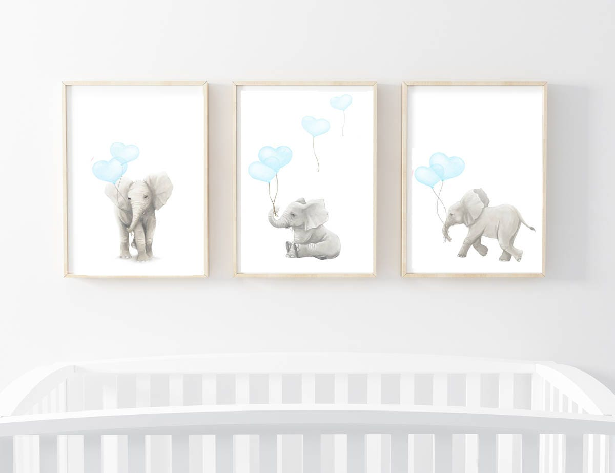 nursery art prints nursery decor elephant art elephant art