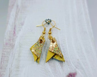 Yellow & Gold Leather Earrings (small)