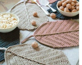 DMC Crochet Pattern, Leaf Table Decoration, home decoration , table cloth , table linen,natura XL yarn, place mats, table mats