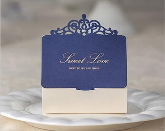 30Pcs/lot Royal Blue Laser Cut Wedding Favor Boxes Wedding Candy Box Wedding Favors And Gifts Event & Party Supplies 75x85x35mm