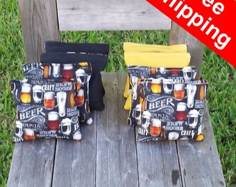 "FREE SHIPPING! Beer set of 8 corn hole bags, top notch quality: 6"" regulation size!"