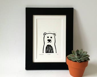 Linocut bear print, bear linoprint, linocut print, art postcard, nursery wall decor, forest friend, woodland bear, teddy bear print, toybear