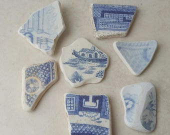 Blue and White Sea Pottery Shards, Beach Pottery, Jewelry Supply, Craft Supply, Mosaic Supply, Shadow Box Supply, Collectible Shards,
