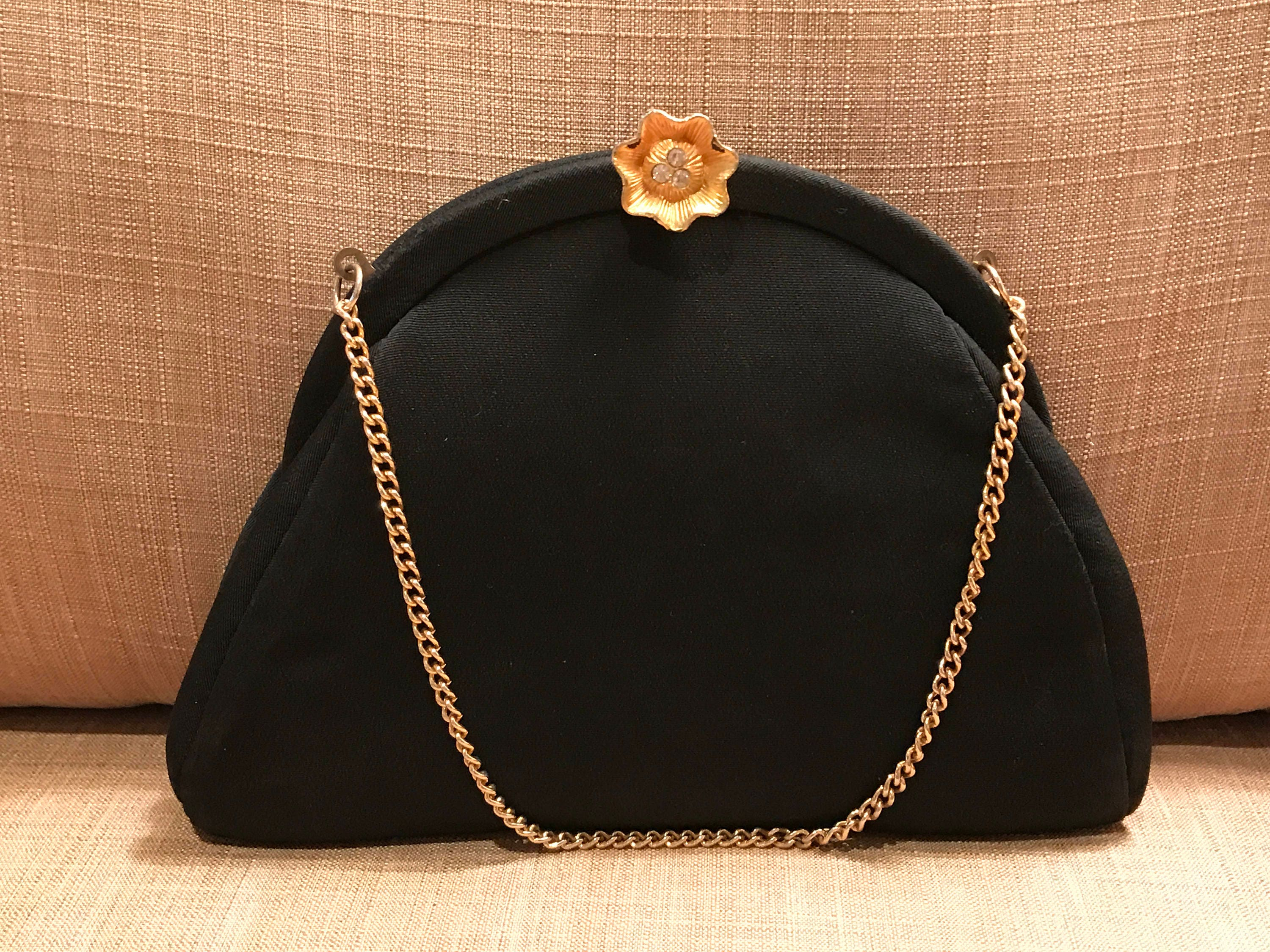 36f1500bf866 Vintage Black Fabric Purse with Gold Chain Handle
