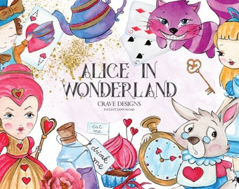 Alice in Wonderland #2 Clipart Alice Clip Art Watercolor Alice Adventures Mad Hatter Tea Party Eat Me Drink Me White Rabbit Key Illustration