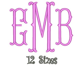 SALE** Fishtail Monogram Embroidery Font 12 Sizes Machine BX Embroidery Fonts Embroidery Monogram Fonts 3 Letter Monogram - Instant Download