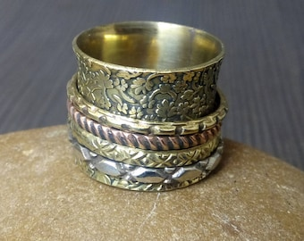 Flower tribal spinning ring | Spinner band for meditation | Ethnic Indian jewelry bands | Hand crafted narrow bands | Prayer rings | R157