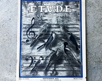 Vintage Music Magazine, 1923 Etude for collage and junk art journals