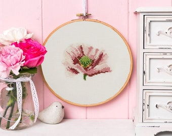 Mini flower poppy DMC cross stitch kit