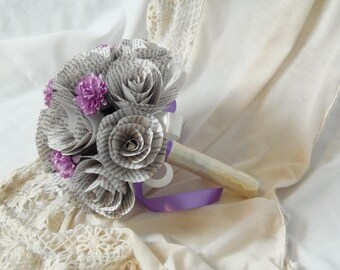 Bronte Book Page Bouquet with lilac flowers and lavender coloured ribbon, Charlotte Bronte, Emily Bronte, Anne Bronte, Bronte Sisters