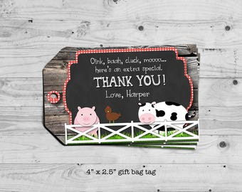 Farm gift bag tag - personalized with your child's name - digital / printable