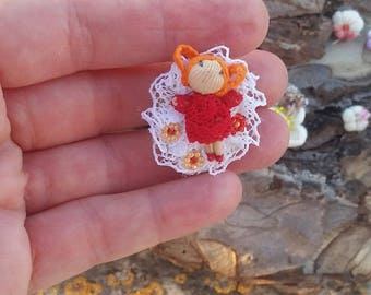 Miniature doll brooch, red hair mini doll, cute one inch doll, awesome red hair doll, red minidoll brooch, adorable doll, gift for girl