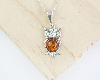 Gaia Owl Pendant, Choose Your Gemstone, Sterling Silver, Owl Necklace, Owl Jewelry, Bird Necklace, Owl Gift, Woodland, Animal Jewelry