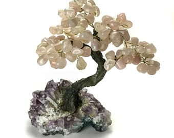 Medium Rose Quartz Gemstone Tree on Amethyst Matrix