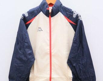 Vintage KAPPA Sportswear White Blue Jacket Windbreaker Size M