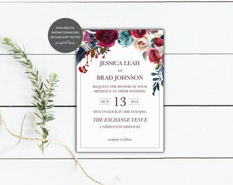 Boho Chic Floral Invitation