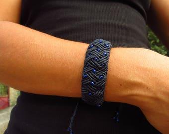 Macrame, dark blue Bangle, Celtic, for party style. Macrame bracelet, celtic style