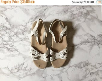 20% OFF SALE... chalk white leather sandals | cut out buckle sandals | 9.5