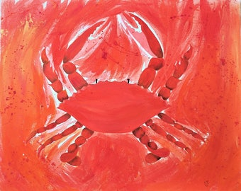 Acrylic Red Crab Canvas Painting, Nautical Decor, Crab Decor, Beach Decor, Acrylic Painting, Unique Gift Idea, Canvas Decor
