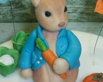 Peter Rabbit Edible Handmade Christening Baby Shower Birthday Age or Cross Cake Topper