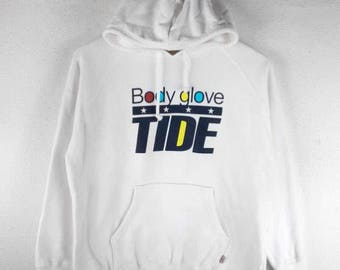 RARE!!! Body Glove Tide Surf Big Logo Multicolour SpellOut White Colour Hoodies Hip Hop Swag M Fit S Size