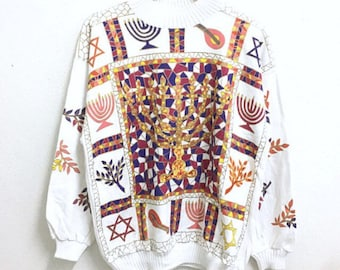 RARE!!! Tigewater Traders Petite Multicolour Embroidery White Colour Sweatshirts Hip Hop Swag L Size