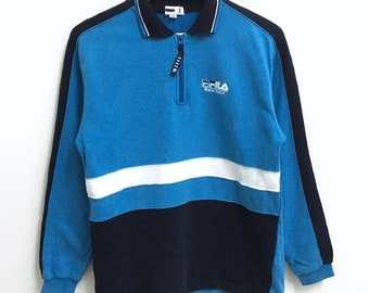 RARE!!! Fila Small Logo Embroidery Half Zipper Blue Colour Polos Sweatshirts Hip Hop Swag 160 Size