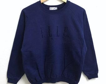 RARE!!! ELLE Paris Big Logo Embroidery Crew Neck Dark Blue Colour Sweatshirts Hip Hop Swag 160A Size