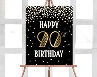 90th Birthday Sign, 90th Birthday Print, Happy 90th Birthday, PRINTABLE Party Sign, Birthday Sign, Gold Party Decorations, Black Party Decor