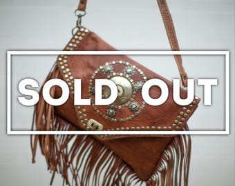 Tan Leather Fringed Shoulder Bag, Studded with Bronze and Silver, Embellished with Natural Stone, Gypsy, Hippie, Boho, Mediterranean Style