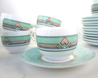 12 Arcopal cup of coffee and their saucers- 1980 Made in France / milk glass / opale trempée / café au lait
