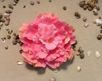 Pink silk flower hair clip