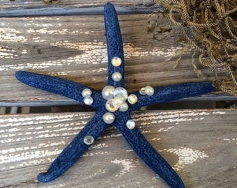 Cobalt Blue Starfish with jewels hair clip