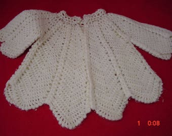 Vintage Handcrochet Baby Sweater, 0-3months, Good Cond