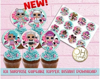 LOL surprise cupcake toppers,lol surprise party,lol surprise birthday,lol surprise printable,lol surprise party supplies,lol surprise party