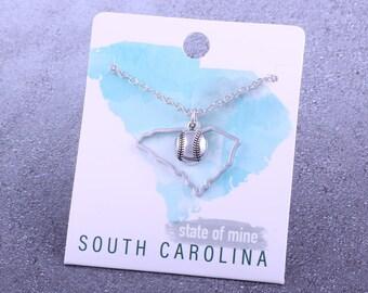 Customizable! State of Mine: South Carolina Softball Silver Necklace - Great Softball Gift!